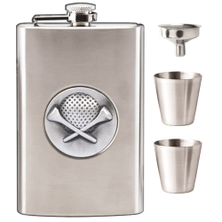 Vision Golf 8oz Flask with 1 Funnel 2 cups Set