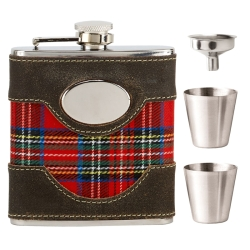 Vision Brown Leather & Tartan Flask with Funnel & 2 Cup Set